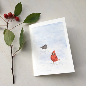 Cardinal and Junco Bird Note Cards by Watercolor Artist Kathleen Maunder