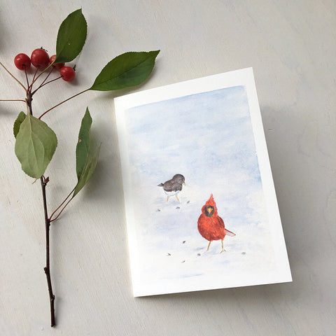 Cardinal and Junco - Winter Bird Note Cards