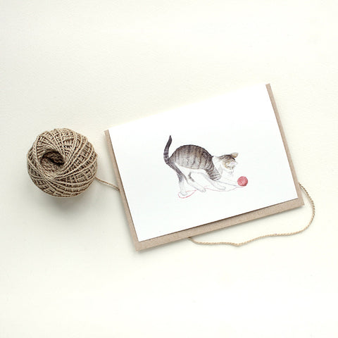 Tabby cat note cards by watercolor artist Kathleen Maunder