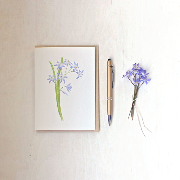 A note card featuring a watercolor painting of blue-mauve chionodoxa (glory of the snow) by artist Kathleen Maunder.