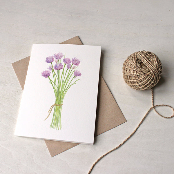 Note cards featuring a watercolor painting of chives by Kathleen Maunder