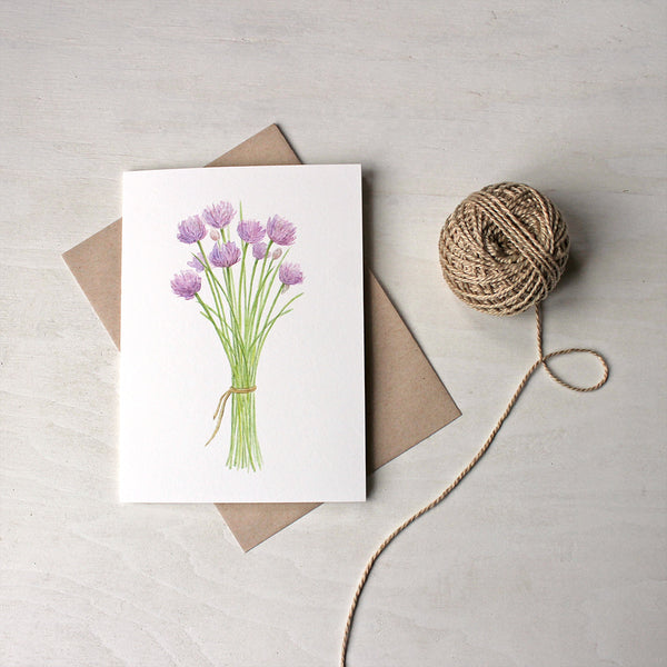 Botanical note cards featuring a bunch of chives by Kathleen Maunder