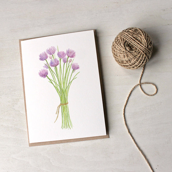Note card featuring a watercolor painting of chives by Kathleen Maunder