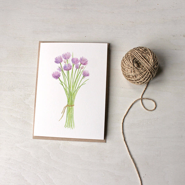 Bouquet of chives - Set of watercolor note cards by Kathleen Maunder