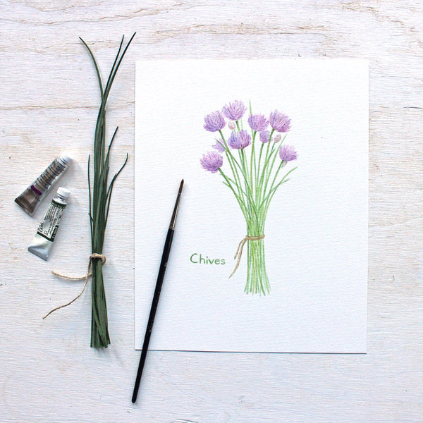 Chives print - Botanical watercolor painting by Kathleen Maunder