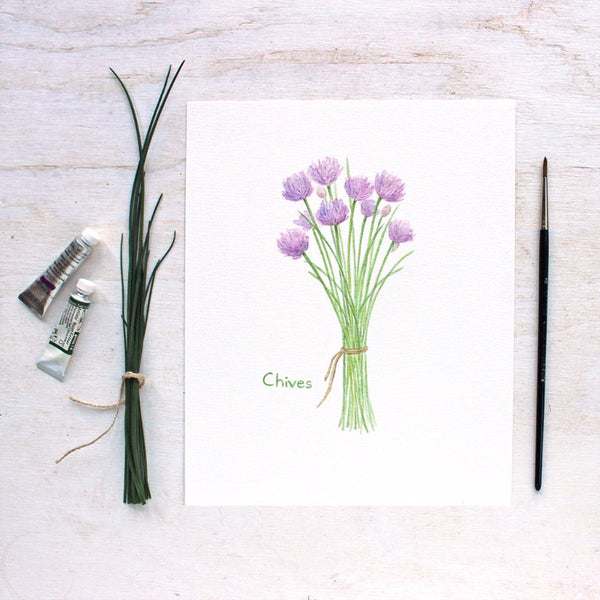 Chives watercolor print by artist Kathleen Maunder of Trowel and Paintbrush