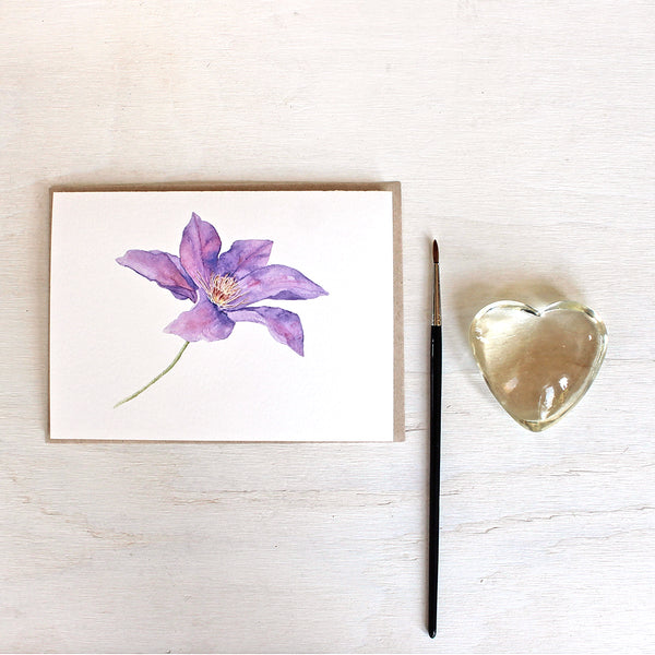 Set of five note cards featuring a watercolor painting of purple clematis by Kathleen Maunder
