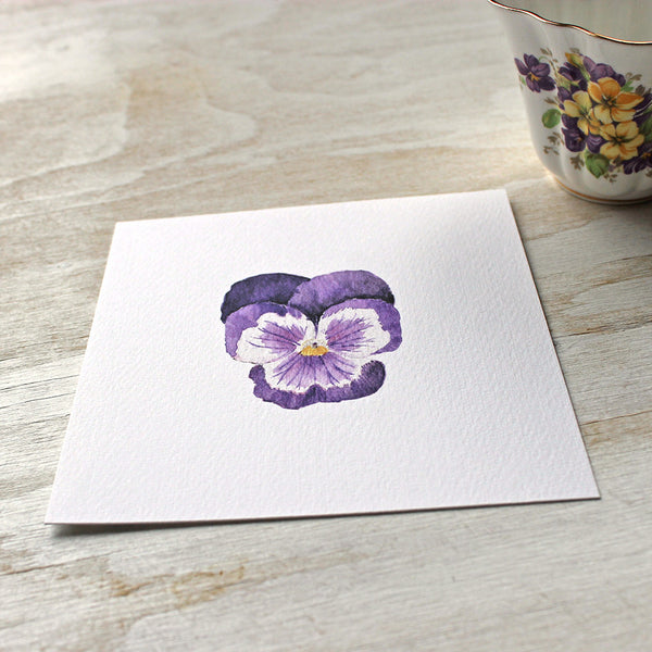 Print of a dark purple pansy by watercolour artist Kathleen Maunder, trowelandpaintbrush