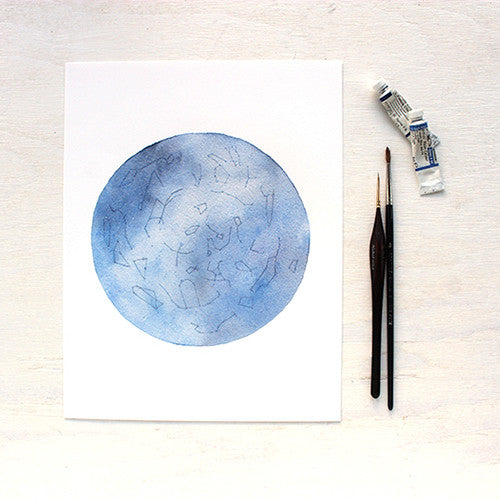 Constellation watercolor print of late spring/early summer sky in the northern hemisphere. Artist Kathleen Maunder of Trowel and Paintbrush