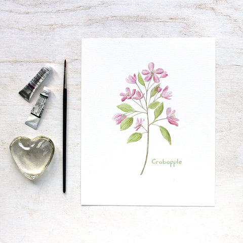 Edible Flower Watercolor Print - Crabapple