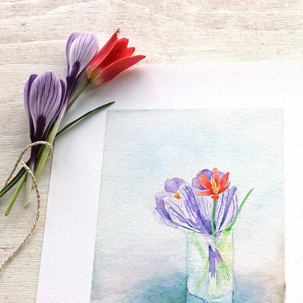 Art print featuring a watercolor painting of crocuses and a tulip by Kathleen Maunder