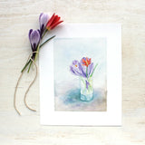 Tiny crocus and tulip bouquet by watercolor artist Kathleen Maunder