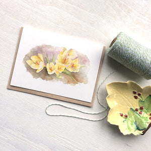 Note cards featuring a watercolor painting of yellow crocuses by Kathleen Maunder