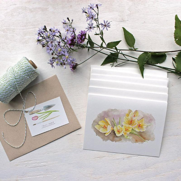 Set of note cards featuring a crocus watercolor by Kathleen Maunder