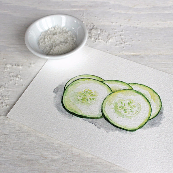 Cucumber watercolor print by Kathleen Maunder of trowelandpaintbrush.com