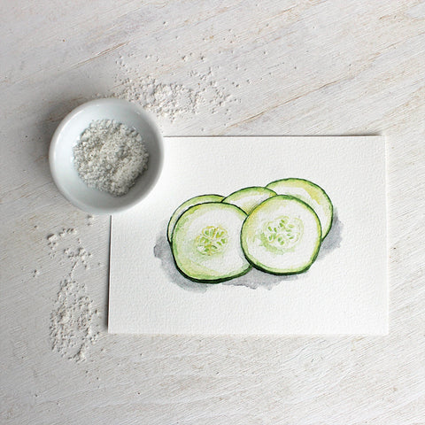 Cucumber watercolor print by Kathleen Maunder, trowelandpaintbrush.com