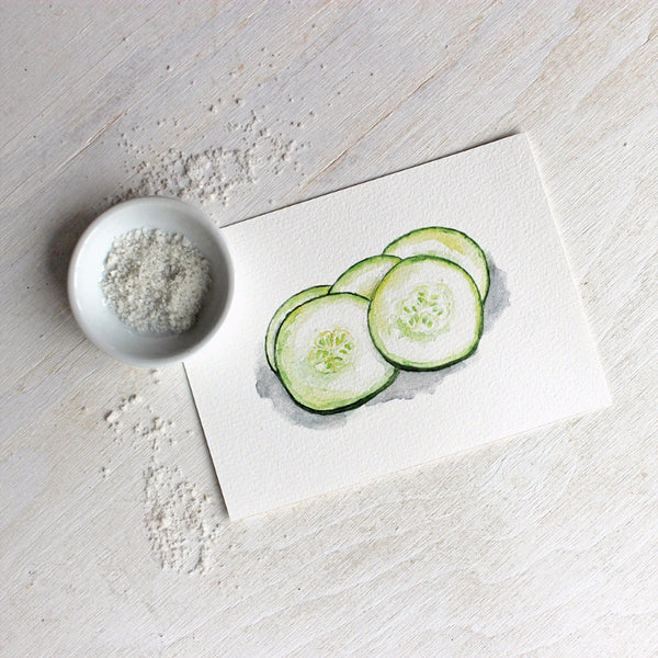 Watercolor print of sliced cucumbers by Kathleen Maunder