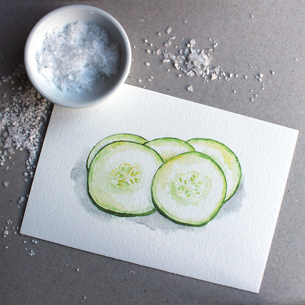 'Cucumber' watercolor print by Kathleen Maunder, trowelandpaintbrush.com