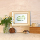 Cucumber watercolor print in frame (trowelandpaintbrush.com)