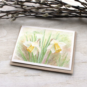 Lovely notecards featuring a daffodil watercolor painting by Kathleen Maunder