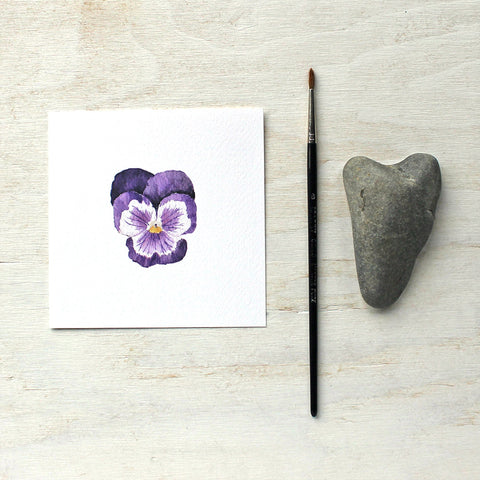 Print of a purple pansy by watercolor artist Kathleen Maunder, trowelandpaintbrush