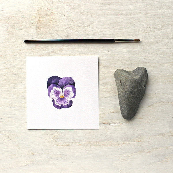 Print of a purple pansy by watercolour artist Kathleen Maunder, trowelandpaintbrush