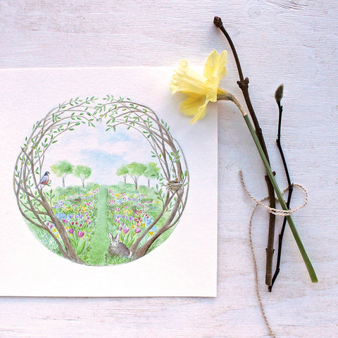 Enchanted Garden Watercolor Print by artist Kathleen Maunder