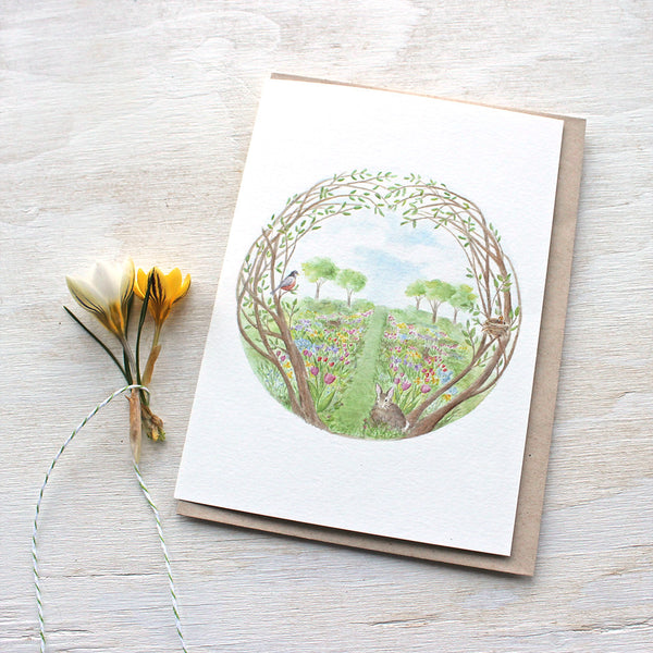 Secret Garden Note Card by watercolor artist Kathleen Maunder