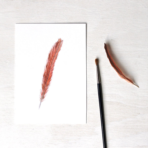 An art print featuring a watercolor painting of a female cardinal feather. Artist Kathleen Maunder.