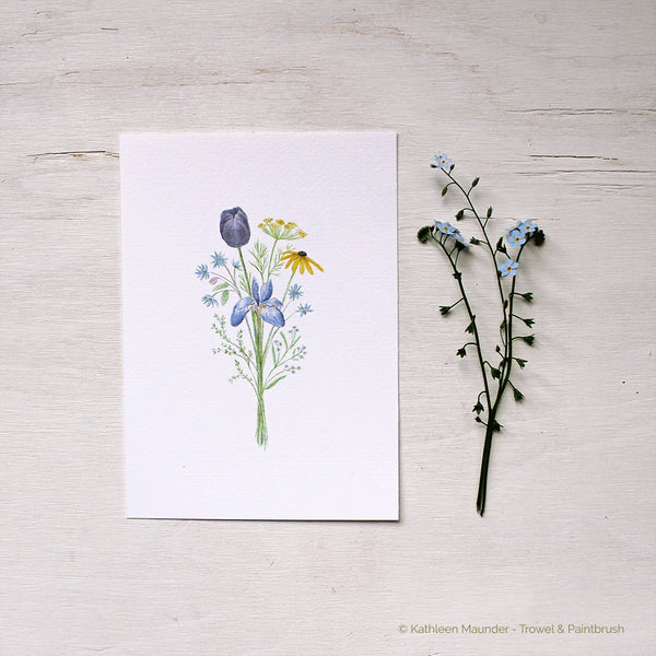 Flowers for Change watercolour bouquet containing a black tulip, dill, borage, black-eyed susan, blue iris, thyme and forget me nots. Artist - Kathleen Maunder
