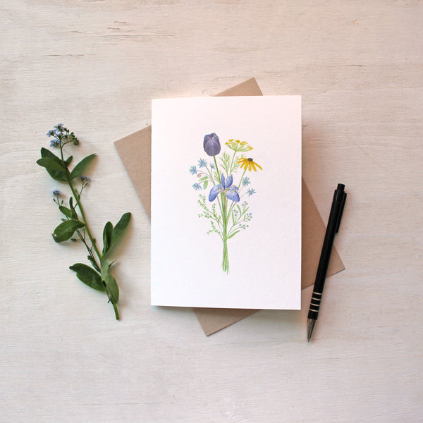 Flowers for Change watercolour bouquet available as set of five note cards. Artist - Kathleen Maunder
