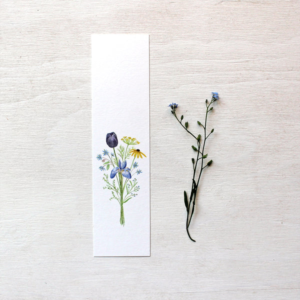Flowers for Change paper bookmark featuring a watercolour painting by artist Kathleen Maunder