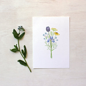 Flowers for Change print featuring a watercolor painting of a bouquet filled with meaning.  Artist Kathleen Maunder