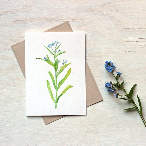 Forget me not note card featuring a watercolor painting by Kathleen Maunder