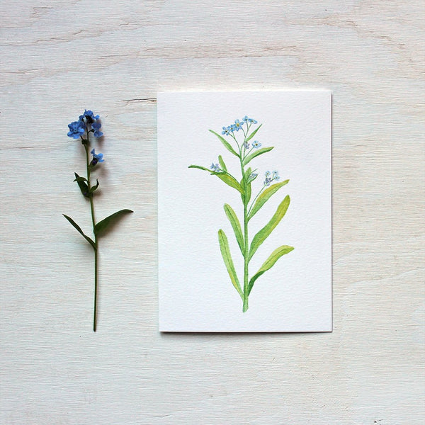 Forget-me-nots watercolor painting on note card. Artist Kathleen Maunder.