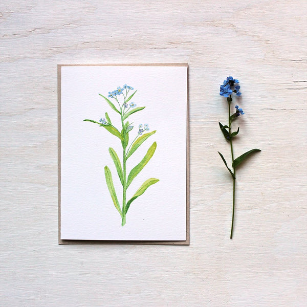 Forget me not watercolor note card by artist Kathleen Maunder
