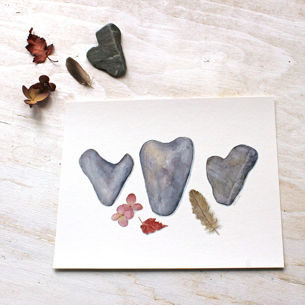 Watercolor painting of three heart stones by Kathleen Maunder - Art prints available at Trowel and Paintbrush