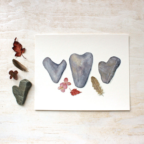A trio of heart rocks / Watercolour painting by Kathleen Maunder / Available as an art print at Trowel and Paintbrush