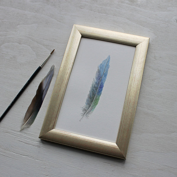 Framed original watercolor painting of a parrot feather by Kathleen Maunder