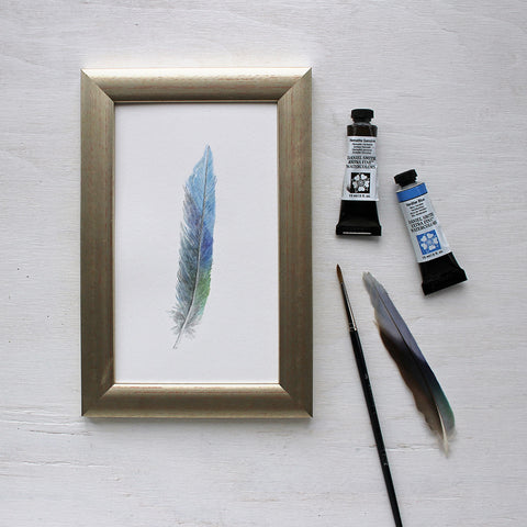 Framed Feather - Original Watercolor Painting