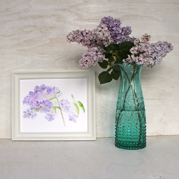 Framed lilacs print by watercolor artist Kathleen Maunder
