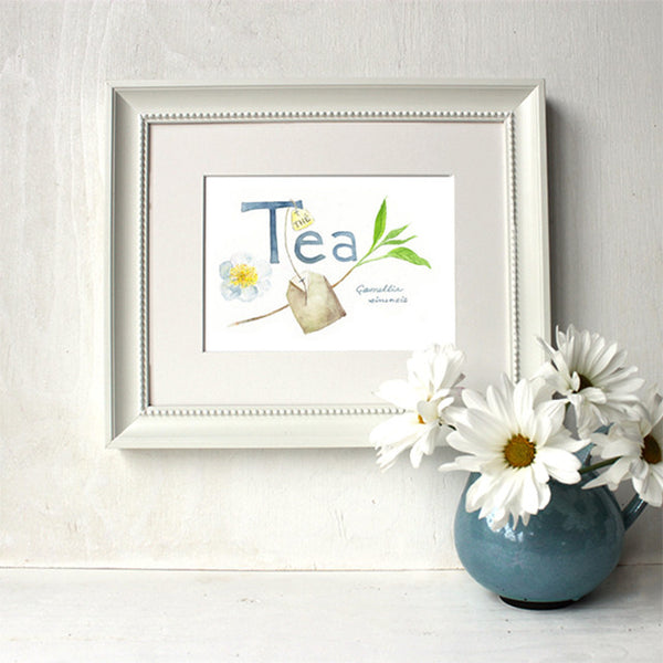 Framed botanical tea watercolour by Kathleen Maunder, Trowel and Paintbrush