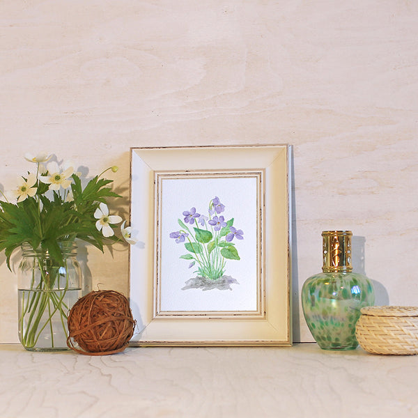 Framed wood violets print by Kathleen Maunder, trowelandpaintbrush