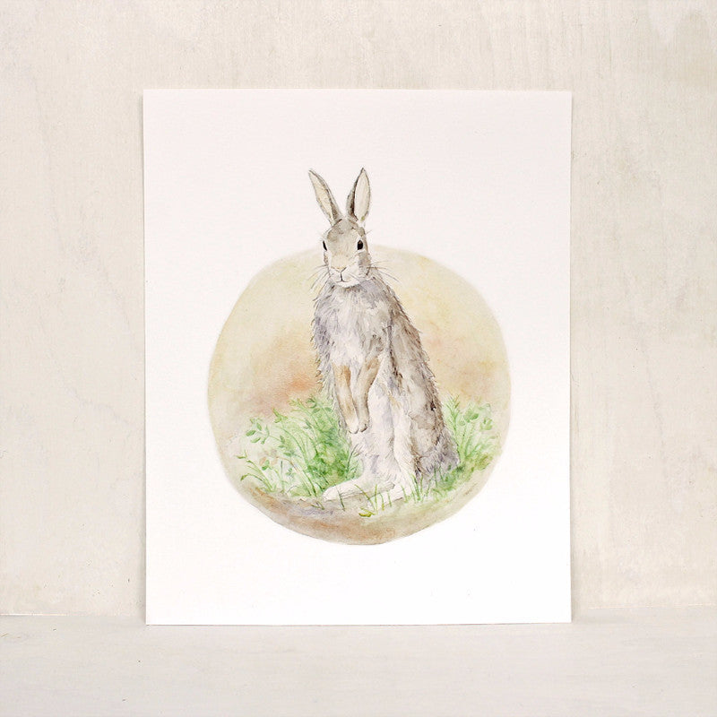 Watercolor art print featuring rabbit painting by Kathleen Maunder