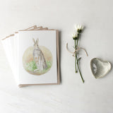 Rabbit note cards by watercolor artist Kathleen Maunder