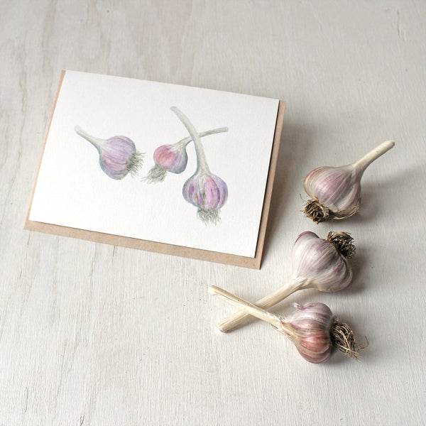 Note cards featuring purple stripe garlic - Watercolor painting by Kathleen Maunder of Trowel and Paintbrush