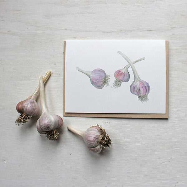 Garlic note cards - Featuring a watercolor painting of purple stripe garlic bulbs by Kathleen Maunder