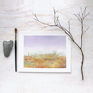 Watercolor print of misty Haworth Moor by Kathleen Maunder of Trowel and Paintbrush