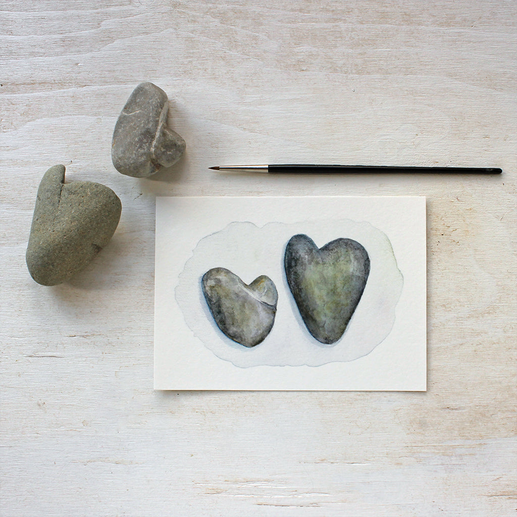 Heart Rocks watercolor painting by Kathleen Maunder - Available as an art print at Trowel and Paintbrush