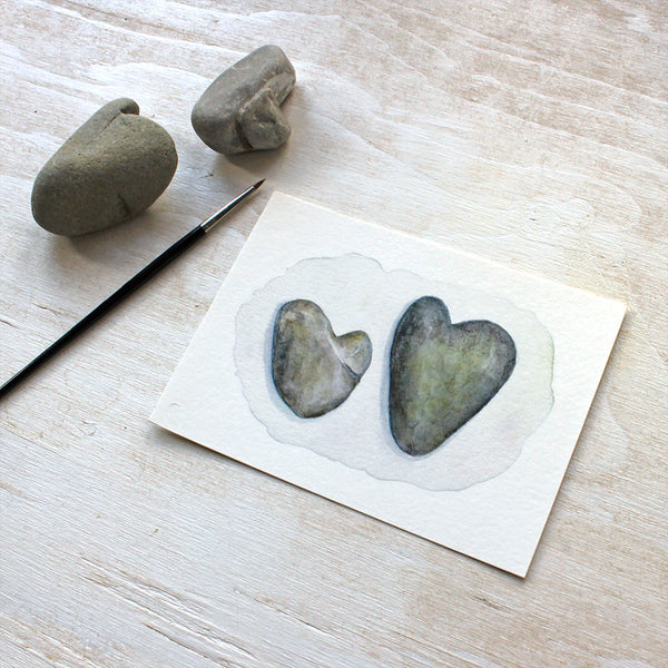 Two Heart Rocks print featuring a watercolor painting by Kathleen Maunder